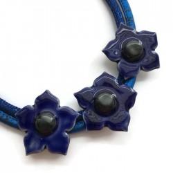 Naszyjnik z ceramiki kwiaty, szafirowy