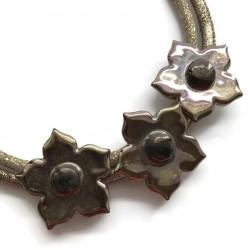 Naszyjnik z ceramiki kwiaty, złoty