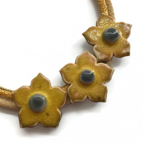 Naszyjnik z ceramiki kwiaty, żółty