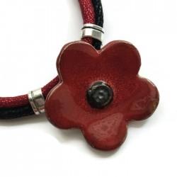 Naszyjnik z ceramiki kwiat, czerwony