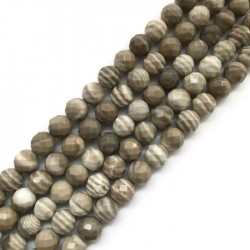 Krzemień pasiasty kulka fasetowana 8mm sznurek