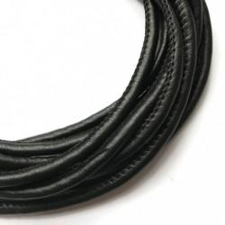 Rzemień szyty 6x7mm-czarny