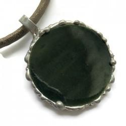 Wisior lutowany koło ceramiczne, ciemna zieleń
