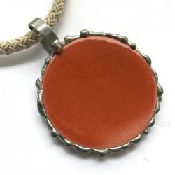 Wisior lutowany koło ceramiczne, pomarańczowy