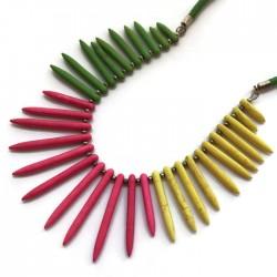 Naszyjnik kolce z howltu, żółto-zielono-różowy