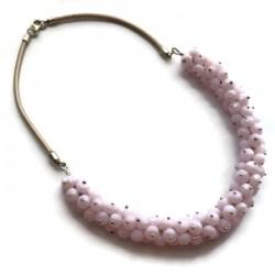 Naszyjnik ze szkła fasetowanego, różowy