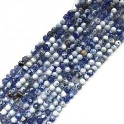 Agat kulka 4mm mix niebieski sznurek