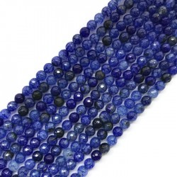 Agat kulka 6mm niebieski sznurek