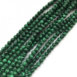 Malachit dobarwiany kulka 6mm zielony sznurek