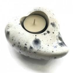 Świecznik ceramiczny w kształcie serca biało-szary