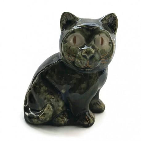 Kotek ceramiczny, ciemno zielony, kot z ceramiki