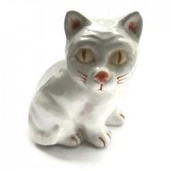 Kotek ceramiczny, biały, kot z ceramiki