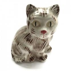 Kotek ceramiczny, biały w brązowe pasy, kot z ceramiki