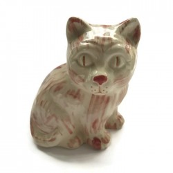 Kotek ceramiczny, kremowy z różem, kot z ceramiki