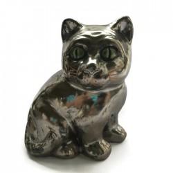 Kotek ceramiczny, brązowy złoty, kot z ceramiki