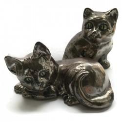 Zestaw dwóch kotków, brązowy złoty, koty z ceramiki