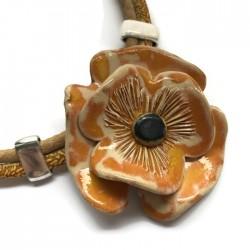 Naszyjnik z ceramiki Kwiat, żółty SILVA