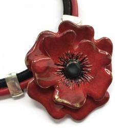 Naszyjnik z ceramiki Kwiat, czerwony SILVA