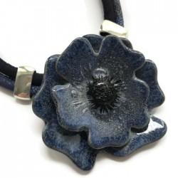 Naszyjnik z ceramiki Kwiat, granatowy SILVA