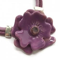 Naszyjnik z ceramiki Kwiat, fioletowy SILVA