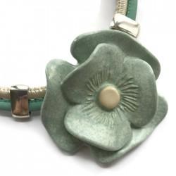 Naszyjnik z ceramiki Kwiat, miętowy SILVA