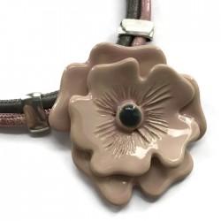 Naszyjnik z ceramiki Kwiat, różowy SILVA