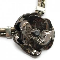 Naszyjnik z ceramiki Kwiat, złoty brąz SILVA