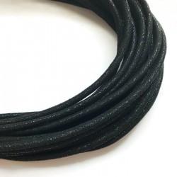 Rzemień szyty welurowy 6x7mm-brokat czarny