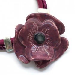 Naszyjnik z ceramiki Kwiat, ciemny róż, fuksja SILVA