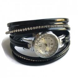Bransoletka szeroka z zegarkiem czarna