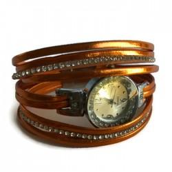 Bransoletka szeroka z zegarkiem pomarańczowa