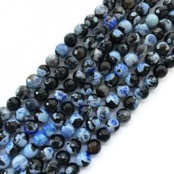 Agat kulka 10mm czarno-niebieski sznurek