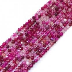 Agat kulka 4mm sznurek róż