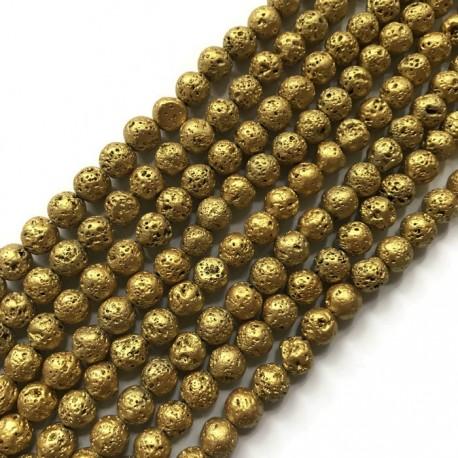 Lawa kulka 8mm sznurek złoty