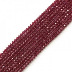 Rubin kulka fasetowana 3mm sznurek, kamień półszlachetny