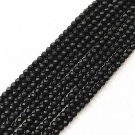 Jadeit kulka fasetowana 4mm sznurek czarny
