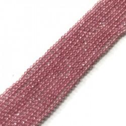 Kwarc kulka fasetowana 2mm sznurek różowy