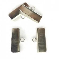 Krawatka szeroka języczek z kółeczkiem kolor srebrny 25x14mm PL