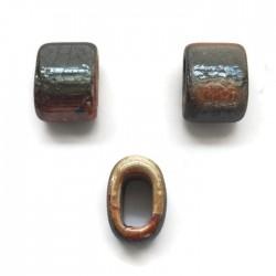 Koralik przekładka ceramiczna 20x14mm pomaranczowo-szary