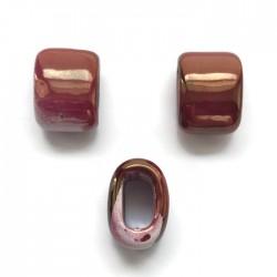 Koralik przekładka ceramiczna 20x14mm różowy