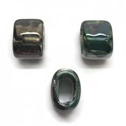 Koralik przekładka ceramiczna 20x14mm szaro-zielony