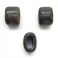 Koralik przekładka ceramiczna 20x14mm ciemny braz