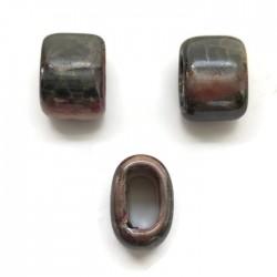 Koralik przekładka ceramiczna 20x14mm szaro-różowy