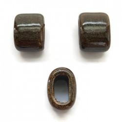 Koralik przekładka ceramiczna 20x14mm brązowy