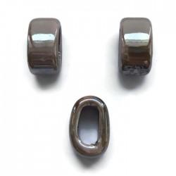 Koralik przekładka ceramiczna 20x10mm ciemny cappuccino