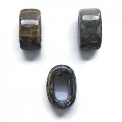 Koralik przekładka ceramiczna 20x10mm szaro-brązowy