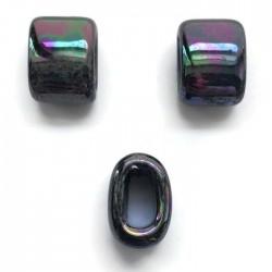 Koralik przekładka ceramiczna 20x10mm czarny opalizujący