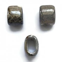 Koralik przekładka ceramiczna 20x10mm szaro-brazowy