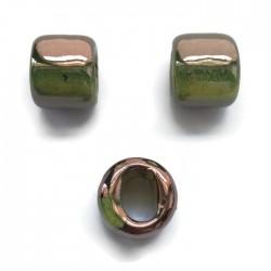 Koralik przekładka ceramiczna 17x14mm miedziano-zielony