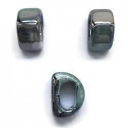 Koralik przekładka ceramiczna 20x10mm szaro-zielony